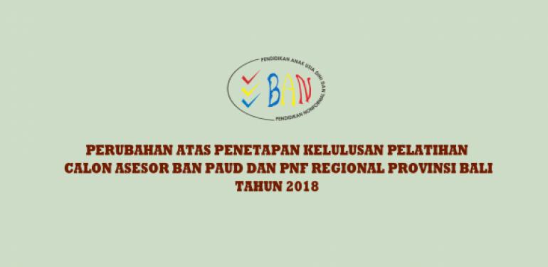 Perubahan Hasil Kelulusan Pca Ban Paud Dan Pnf Regional Provinsi